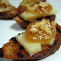 Manchego Cheese, Quince, and Walnut Crostini