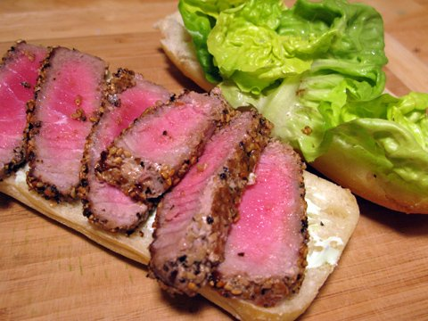 Seared Tuna Sandwich with Wasabi Mayo