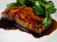 Seared Salmon with Balsamic Glaze and Watercress