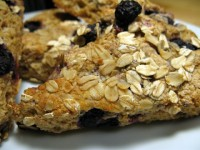 A pile of whole wheat blueberry-oat scones