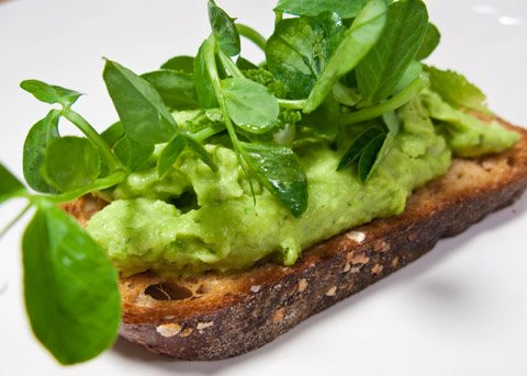 Fava and Pecorino Crostini with Mint and Pea Shoots
