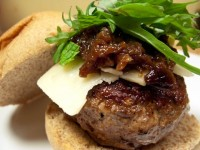 Lamb Burgers with Cheddar and Spicy Onion Marmalade