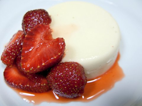 Pink Peppercorn-Yogurt Panna Cotta with Strawberries