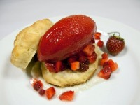 Buttermilk Shortcakes with Stawberry Sorbet and Vanilla Bean Creme Fraiche Sauce