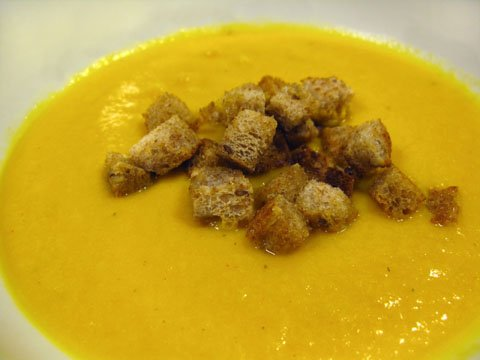 Golden Beet Soup with Buttery Croutons